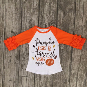 Pumpkin Kisses Halloween top 3/4 ruffle girls top