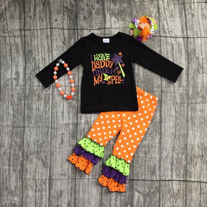 Girls Have Daddy under my Spell Halloween pant outfit with accessories
