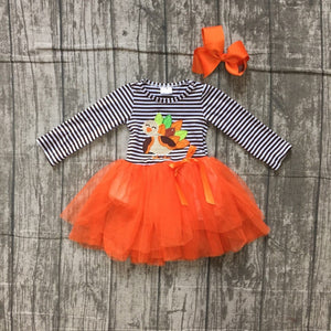 Girls Thanksgiving dress black stripes turkey embroidered orange veil dress with accessories