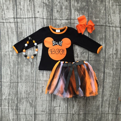Girls Boo Mouse Print dress with accessories