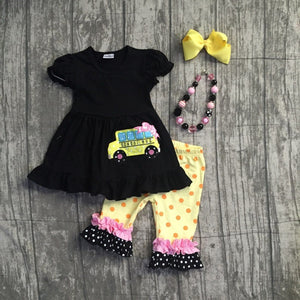 School Bus ruffle top/capri outfit with accessories