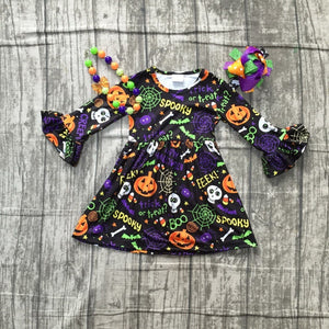 Girls black spooky Print dress with accessories