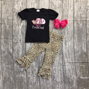 Leopard Wild about Preschool capri outfit with accessories