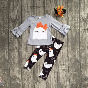 Girls Ghost Halloween pant outfit with accessories
