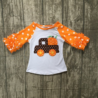 Little Trucker Pumpkin Halloween top 3/4 ruffle girls top