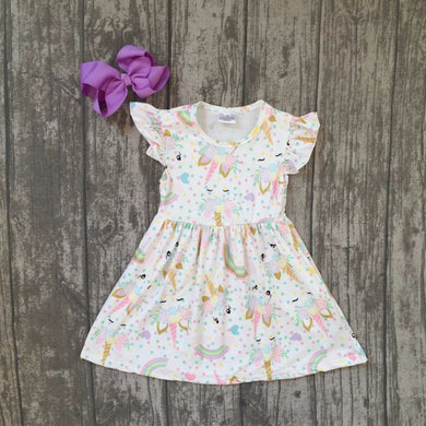 unicorn rainbow ruffles dress with accessories