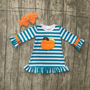 Girls Blue stripes orange Pumpkin dress with accessories