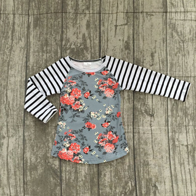 long sleeve floral stripe girls top