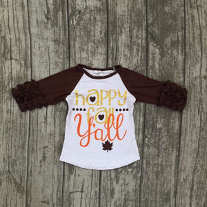 Happy Fall Yall top 3/4 ruffle girls top - The Weathered Loft LLC