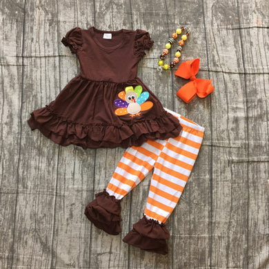 Girls Thanksgiving Turkey Striped pant outfit with accessories