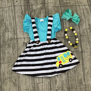 School Bus Blue Stripe Dress outfit with accessories