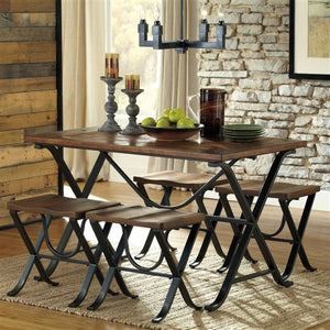 Industrial Style 5-Piece Dining Room Set with Table and 4 Backless Stools - The Weathered Loft LLC