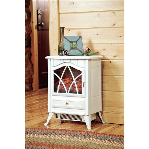 White Ivory 400 Square Foot Electric Space Heater Fireplace Stove