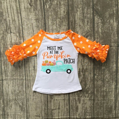Meet me at the Pumpkin patch 3/4 ruffle girls top