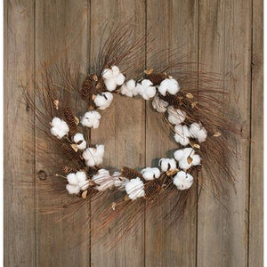 "Cotton and Pinecone Wreath - 30"" - The Weathered Loft LLC"