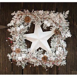 Snowy Square Wreath w/Star