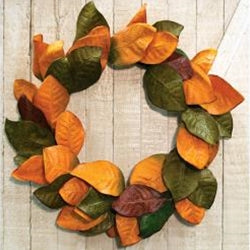 "Fall Magnolia Leaves Wreath, 22"" - The Weathered Loft LLC"