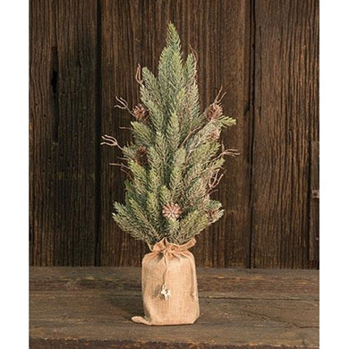 Snowy Glitter Pine Tree in Gift Bag, 18