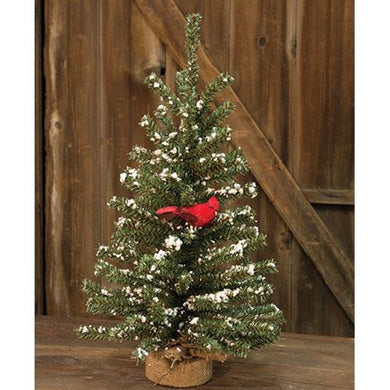 Snowy German Twig Tree w/Cardinal, 24