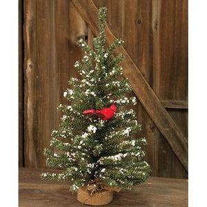 Snowy German Twig Tree w/Cardinal, 24""