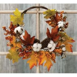 Country Autumn Harvest Half Wreath