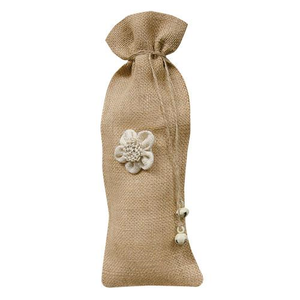 Burlap Wine Bag w/Flower