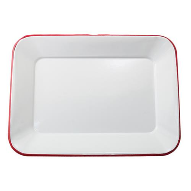 Red Rim Enamel Tray