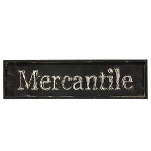 -$$ Large Distressed Black Mercantile Sign, 30""