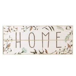 "Cotton and Floral Wall Sign, ""Home"""