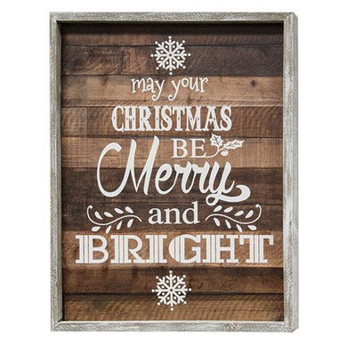 Merry and Bright Framed Wooden Sign