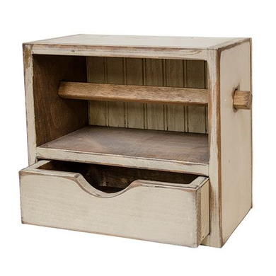 Distressed Wood Paper Towel Holder w/Drawer - The Weathered Loft LLC