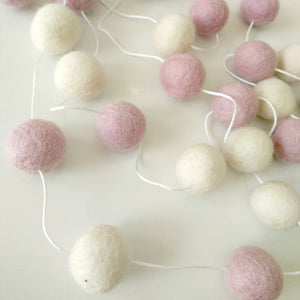Preorder -  Handmade Wool Ball For Baby Bed Kids Room Hanging Wall Decorations - Pink & White