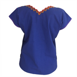 Blue Mexican Blouse V-Neck