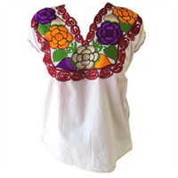 White Mexican Blouse with Flowers