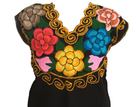 Black Mexican Blouse with Flowers