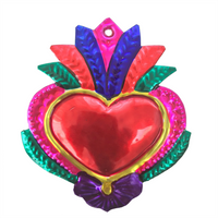 Milagros Charms - Tin Painted Sacred Heart Ornaments - Mexican Art (set of 4) - Large - Multicolor