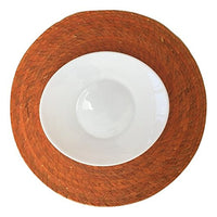 Orange Round Placemats – Set of 4 - Mexican Style - Eco-Friendly, Handmade, Woven, Braided and Reversible - Easy to Clean, - Great for Dining Table / Kitchen. Indoor or Outdoor use