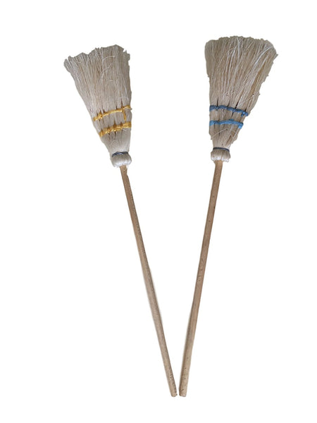 Authentic Small Handmade Brooms 5 Inches Each With Wooden Handle - Decorative - Set of 2