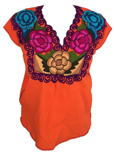 Orange Mexican Blouse with Flowers