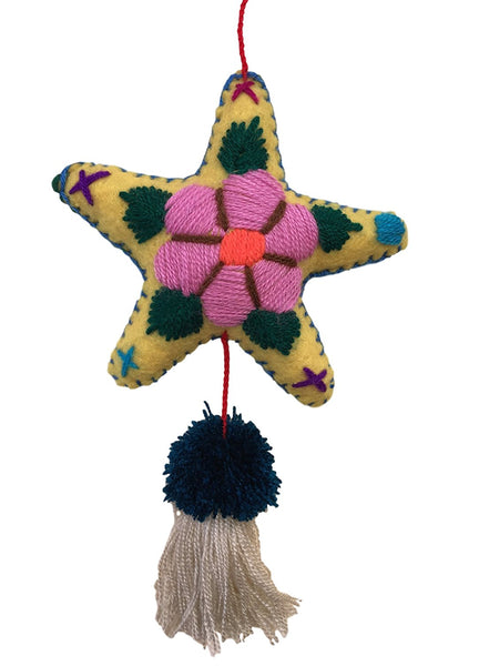 Star Plush Ornament - Mexican Milagros - Handbag Bag Decoration - Hand-made in Mexico - Unique Design