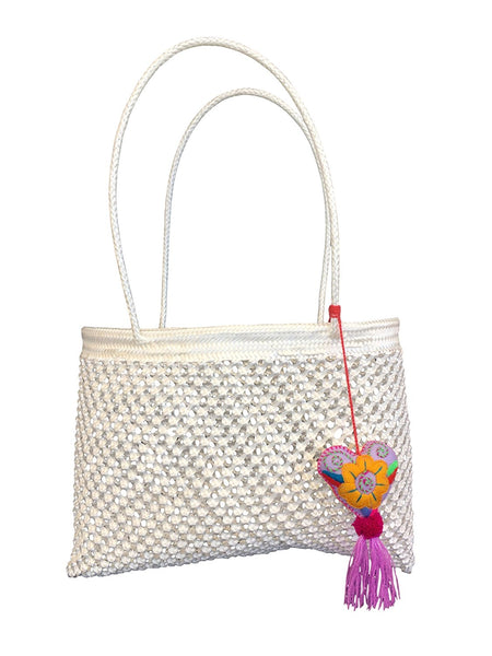 Beach Shoulder Bag with Unique Heart Design - White