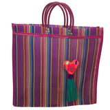 Handmade Mexican Mercado Bag with Unique Heart Design - Boho Chic - Mesh - Purple and Blue