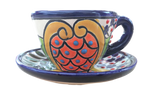 Talavera Espresso Ceramic Floral Cup and Saucer - 2 oz - Multicolor