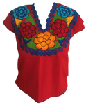 Red Mexican Blouse with Flowers