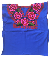 Blue Mexican Blouse with Flowers