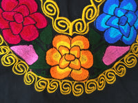 Black Mexican Blouse with Colorful Flowers