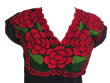 Black Mexican Blouse with Red Flowers