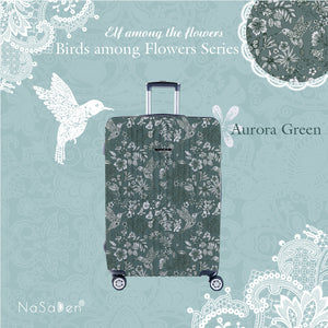 "NaSaDen Birds among Flowers Series Limited Edition [Aurora Green] 22"" Zipper Carry On  [1 year warranty]"