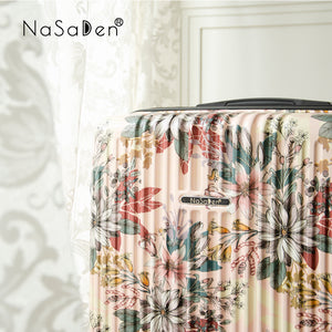 "NaSaDen Secret Garden Series Limited Edition [Flora Pink] 22"" Zipper Carry On  [1 year warranty]"