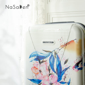 "NaSaDen Hohenzollern Series Limited Edition [Nordic Coleus/Garbson Blue Flower/Carmen Green Flower] 29"" Pickup extendable suitcase/ Large checked luggage  [1 year warranty]"